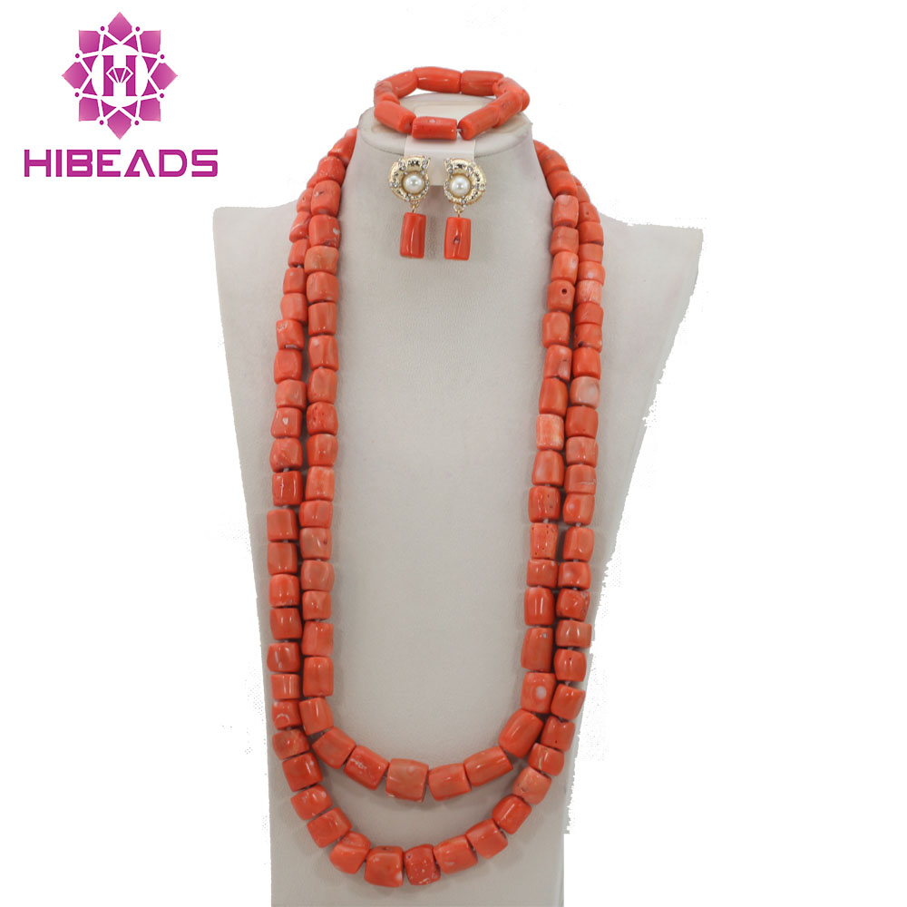 Fantastic Coral Beads Jewelry Set African Beads Necklace Set Fashion Costume Jewelry Set Free Shipping CRN217