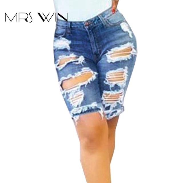 411140b4aa La sra. Femme win 2017 verano Agujero Pantalones Cortos de Mezclilla Jeans  Stretch Delgado nueva
