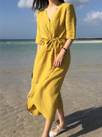 Fashion Women's Chic Steppe Dress Summer Beach Casual Light Cotton Loose Belt Women's Dress Yellow