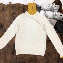 Blanco suéter y Pullover mujeres otoño señora ocasional del cuello alto  manga larga suéter 2018 nuevo 3dfcd2064f35