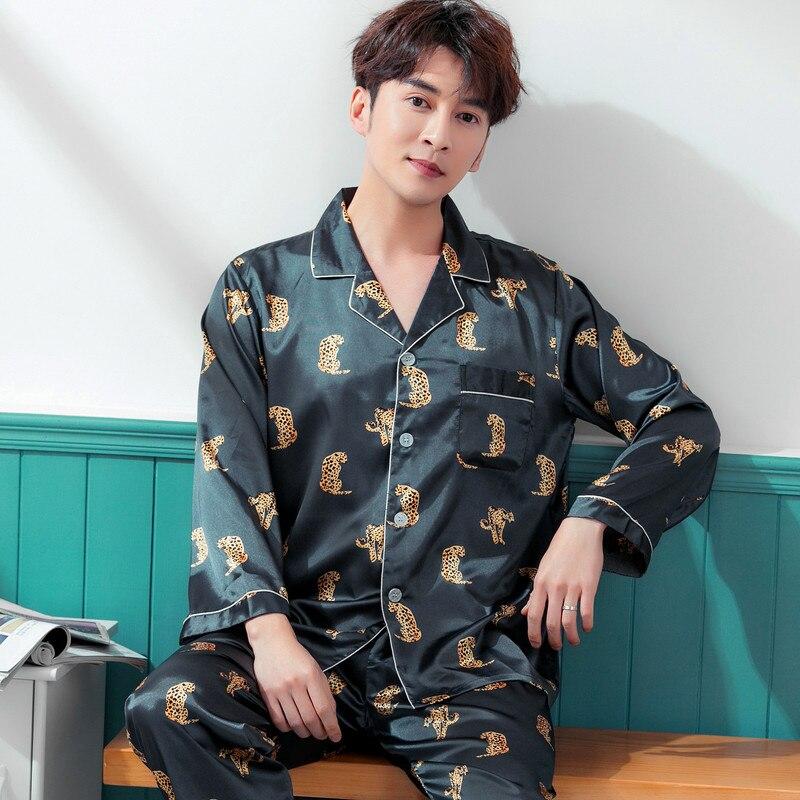 New Pajamas Men Satin Silk Sleepwear Male Print Full Sleeve And Shorts 2PCS Pajama Sets Men Summer Nightwear Pyjama