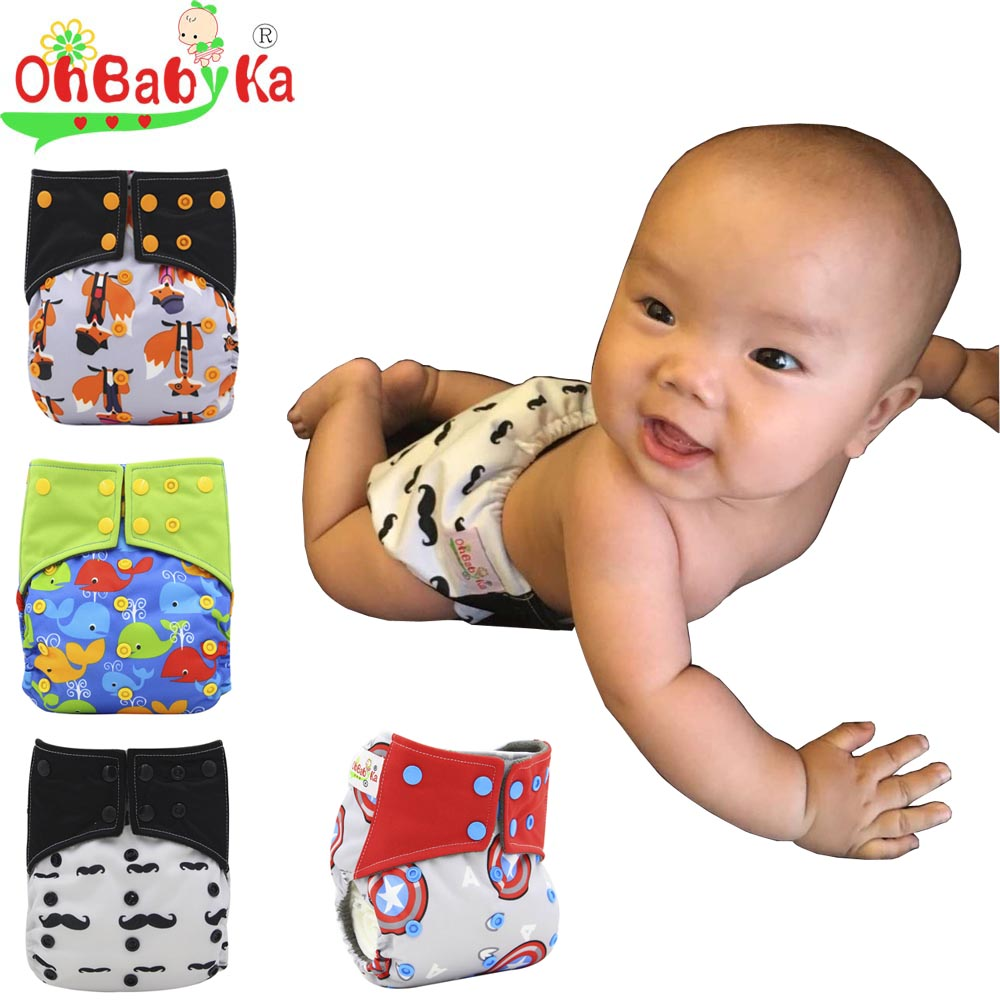Ohbabyka Cloth Diaper All-in-two AI2 Bamboo Charcoal Infant Nappy Cover Double Gussets Baby Nappies Reusable Baby Pocket Diapers