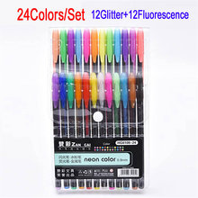 DELVTCH 24 Gel Pens set Color gel pens Glitter Metallic Good gift For Coloring Kids Sketching Painting Drawing