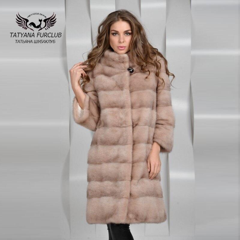 Tatyana Furclub Toda Pele de Vison Casaco De Pele, Casaco de Pele de Pele Natural para inverno, Moda Femal Qualidade Luxuoso Casaco de Vison, Casaco De Pele de Vison das mulheres