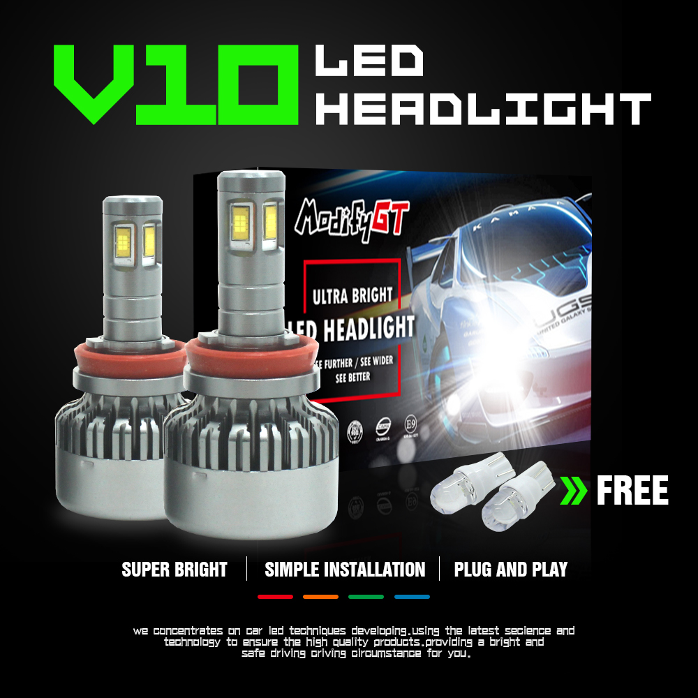 Modifygt V10 H7 <font><b>led</b></font> H4 <font><b>led</b></font> H11 <font><b>H15</b></font> 8000LM 36W 12V Car <font><b>led</b></font> light Headlight hi-lo canbus <font><b>no</b></font> <font><b>error</b></font> car accessories image