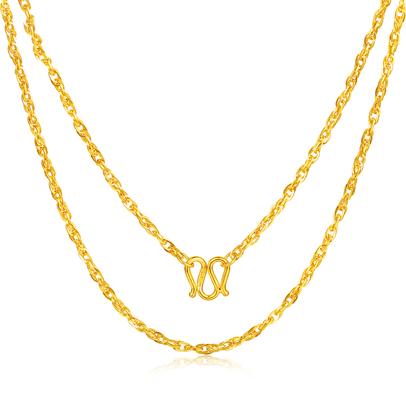 Image 2 - JJF 24K Pure Gold Necklace Real AU 999 Solid Gold Chain Brightly Simple Upscale Trendy Classic  Fine Jewelry Hot Sell New 2019-in Necklaces from Jewelry & Accessories