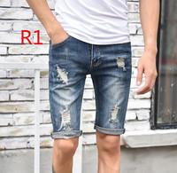 Summer Men Casual Blue 13 Kinds Half Jeans Male Teenager Lightweight Straight Plaid Midwaist Jeans
