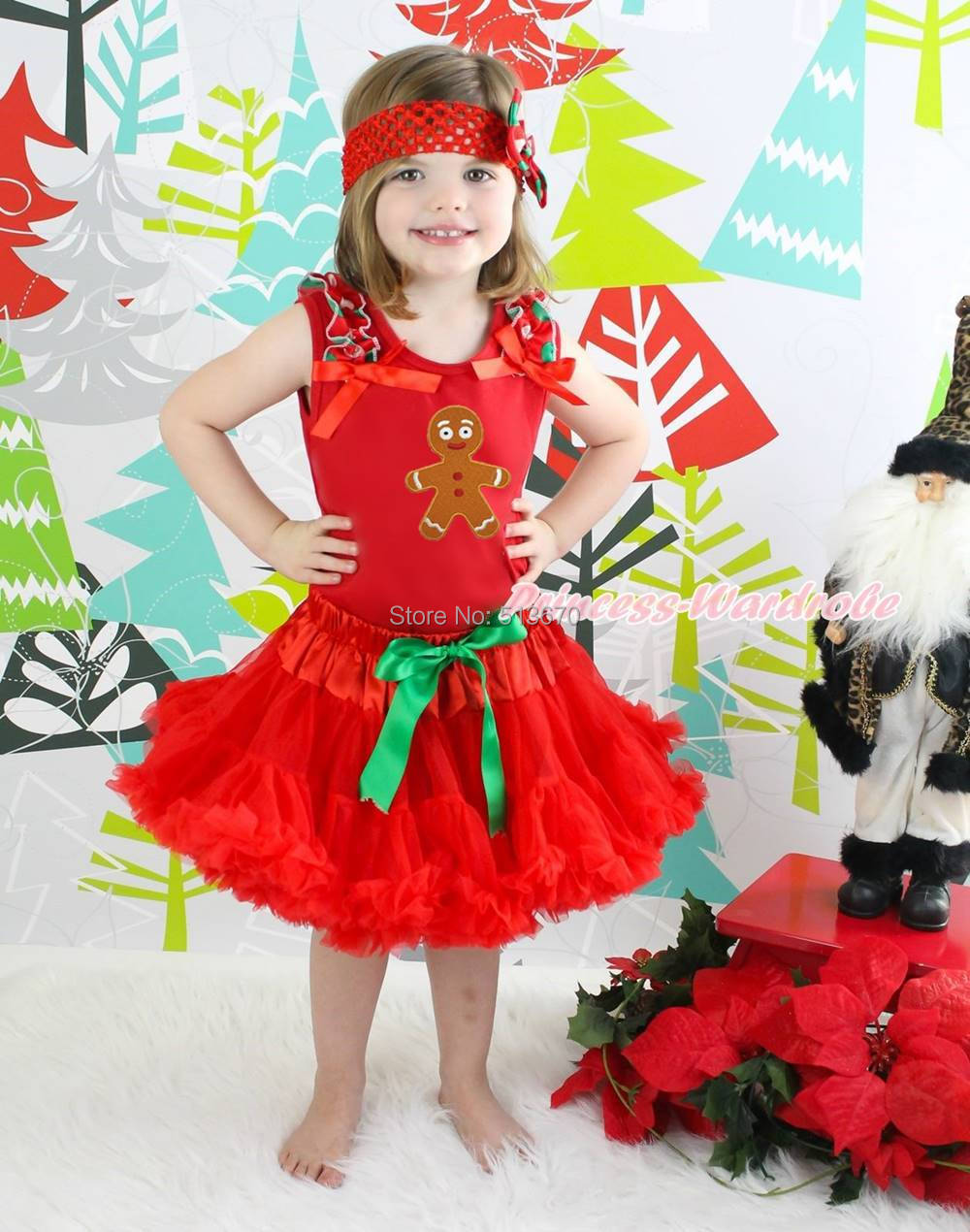 XMAS Gingerbread Red Top Shirt Red Pettiskirt Baby Girl Outfit Costume Set 1-8Y MAPSA0074 цена и фото