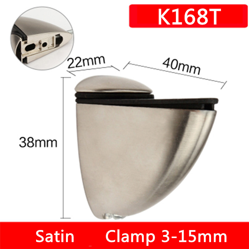 2pcs K168T For 3 to 15mm glass board Bow type arc chin Satin finished Zinc Alloy Glass Clamps Shelves Support Bracket Clips2pcs K168T For 3 to 15mm glass board Bow type arc chin Satin finished Zinc Alloy Glass Clamps Shelves Support Bracket Clips