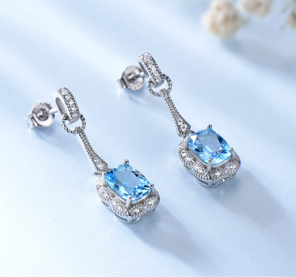 UMCHO swiss blue topaz earrings for women fashion (3)