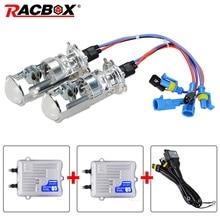RACBOX H4 Mini Projector Lens Kit Bi-Xenon HID Bulbs Hi/Lo Beam Headlight 4300K 6000K 55W Ballast Fast Bright DLT Ignition Block