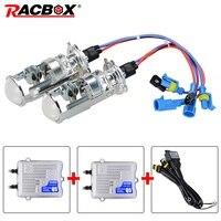 RACBOX H4 Mini Projector Lens Kit Bi Xenon HID Bulbs Hi/Lo Beam Headlight 4300K 6000K 55W Ballast Fast Bright DLT Ignition Block