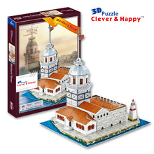 2014 new clever&happy land  3d puzzle model Maiden's Tower  young girl child adult puzzle jigsaw puzzle diy handmade model paper