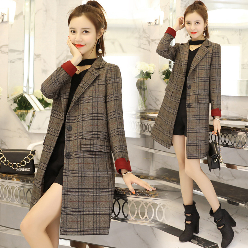 New Autumn Long section Casual Plaid Blazer Women Gray Suit Blazer Jacket Work Office Long Sleeve Business Female Suit Coat