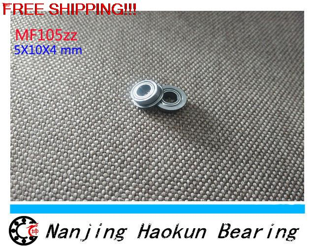 Free Shipping 4PCS  Flanged 5X10X4  Metal Shields Flange Bearings  ABEC-3  MF105 ZZ free shipping 10 pcs mf74zz flanged bearings 4x7x2 5 mm flange ball bearings lf 740zz