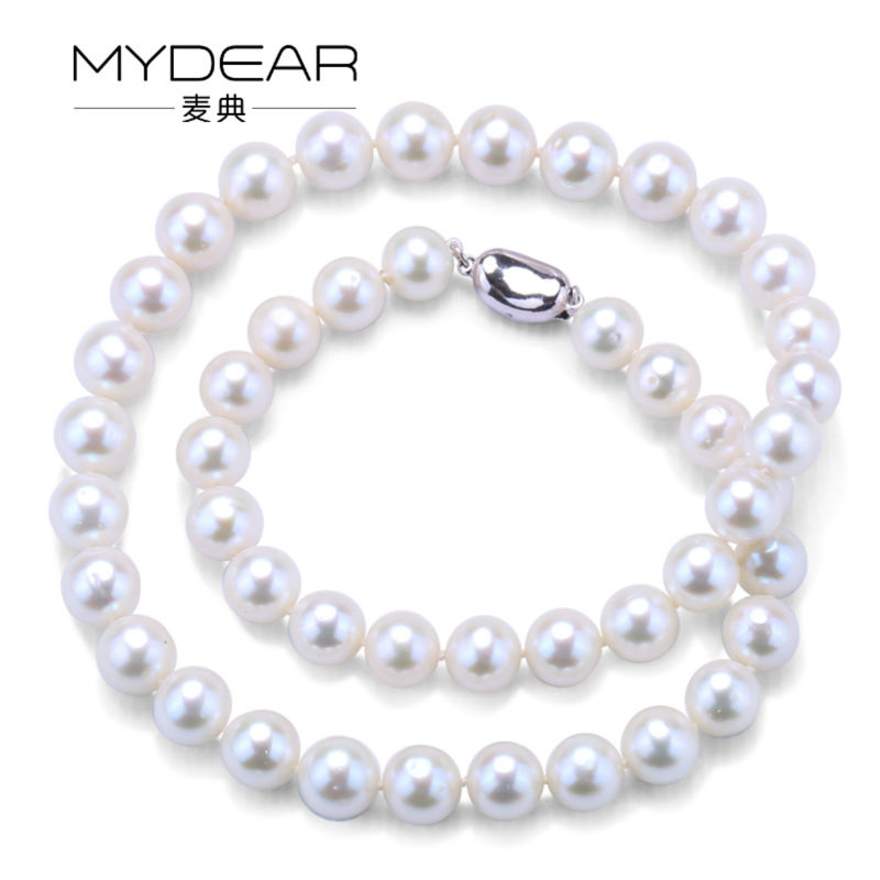 MYDEAR Pearl Jewelry Delicate Women 10-11mm Freshwater Pearl Choker Necklace,High Luster,Perfectly Round delicate faux pearl hollow out ball shape necklace for women