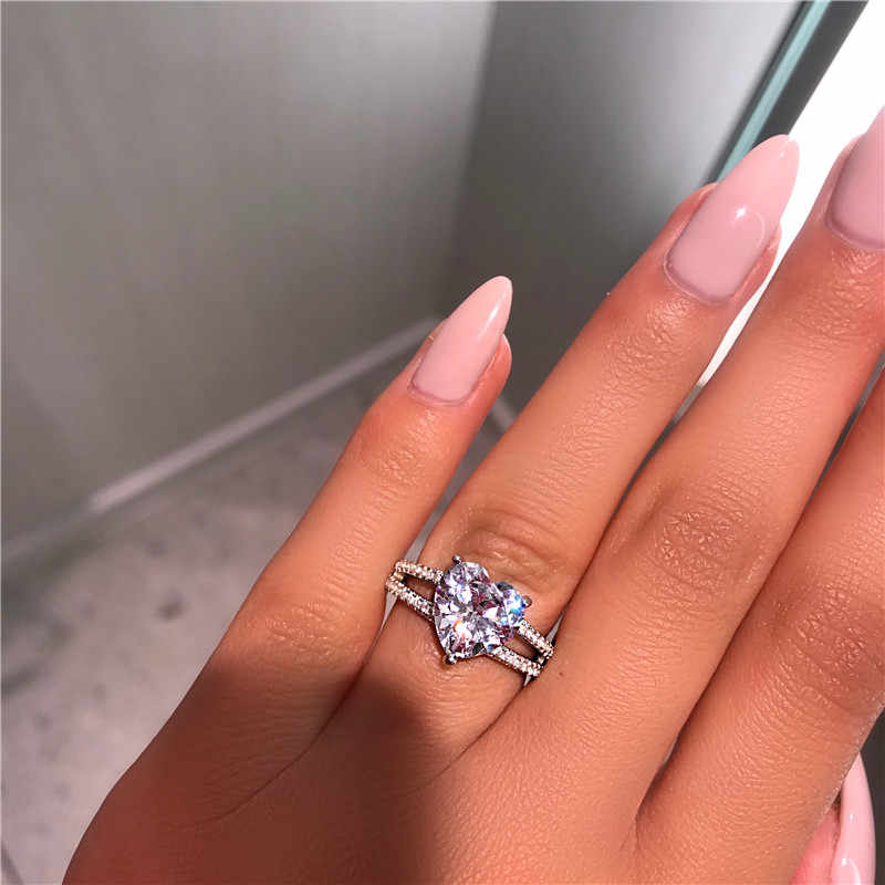 choucong Heart Lovers Ring 925 sterling Silver 3ct AAAAA cz stone Promise Engagement Wedding band Rings For Women Jewelry Gift