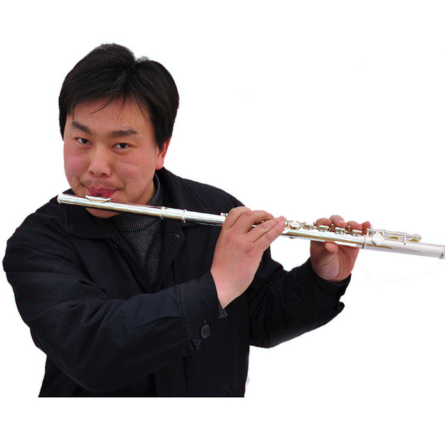 Heizwey Left-handed 16 Holes C Key Open and Closed Silver Plated Flute Free shipping
