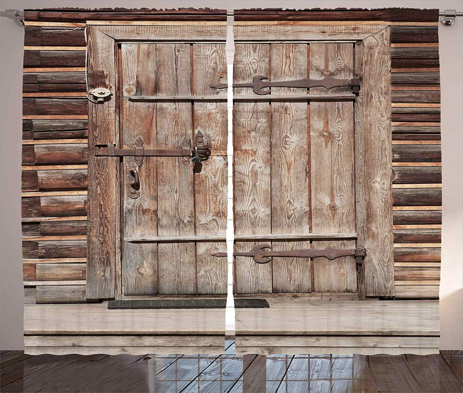Curtains Timber Rustic Door In Wall