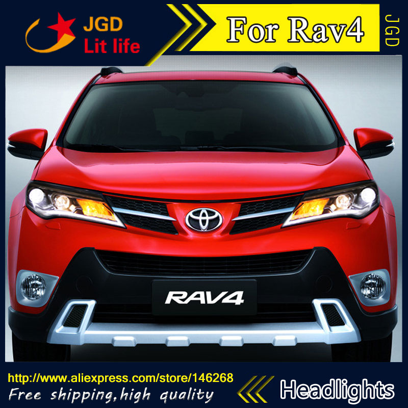 Free shipping ! Car styling LED HID Rio LED headlights Head Lamp case for Toyota RAV4 Bi-Xenon Lens low beam