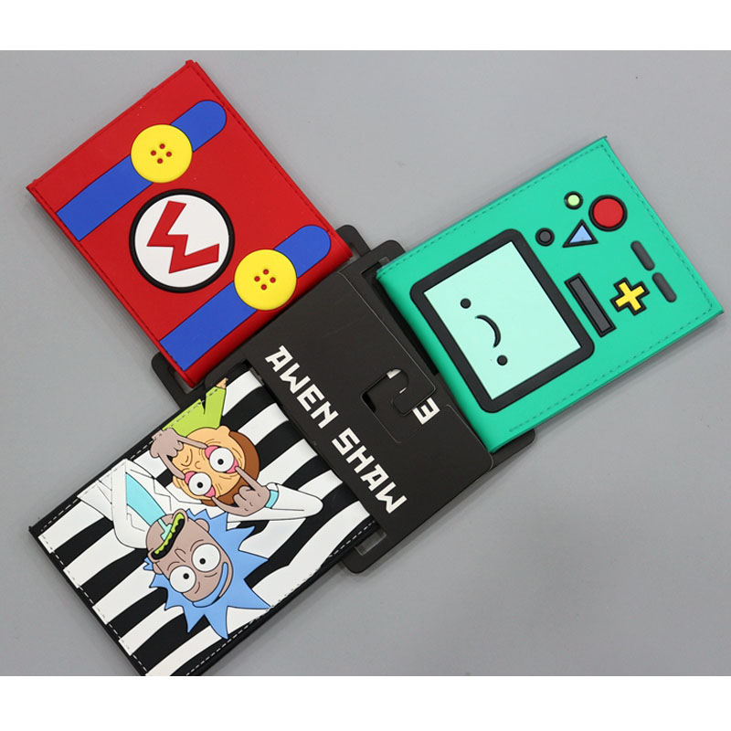 New Arrival Cute Cartoon Wallets Super Mario Ricky And Morty Adventure Time Embossed Shot Slim Leather Men Wallet For Child Gift