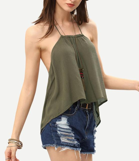362760c2d66 New Arrival summer 2016 sexy backless army green solid color halter crop top  camisole tank