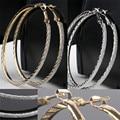 Простой дизайн большой круг хооп серьги для женщин чешские свадебные ну вечеринку ювелирные изделия сплав серебра Brincos EAR-0069