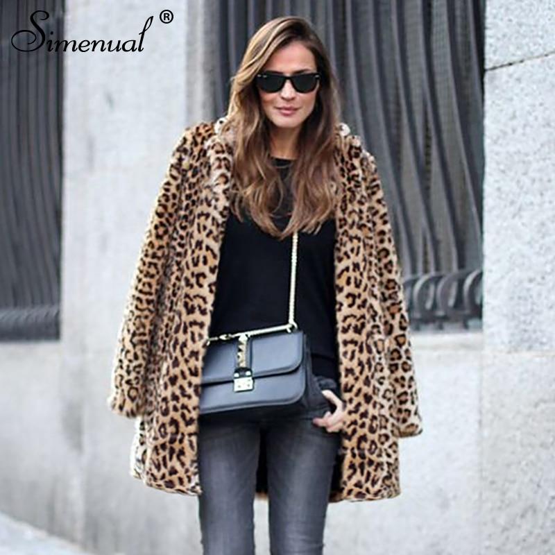 Taille Hairely Streetwear Vente Long D'hiver Vestes Shaggy Léopard Femme Plus La Fausse De Fourrure 2018 Femmes Survêtement En Veste Manteaux Leopard Simenual 0OxqZnx