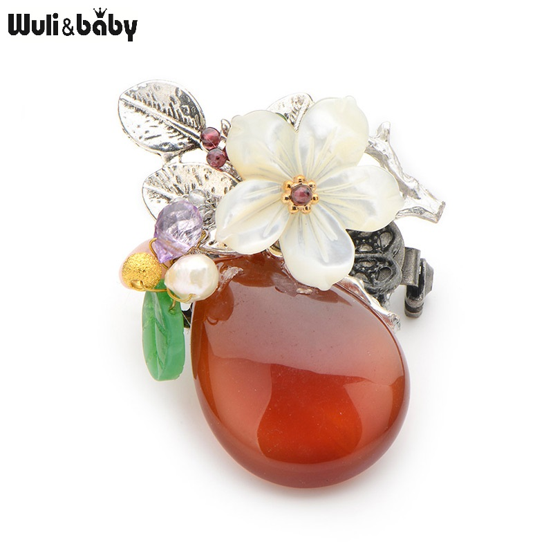 Wuli&Baby Red Natural Stone Vase Natural Shell Flower Brooches Women National Style Party Wedding Banquet Vintage Brooches Gift m style ваза настольная vase