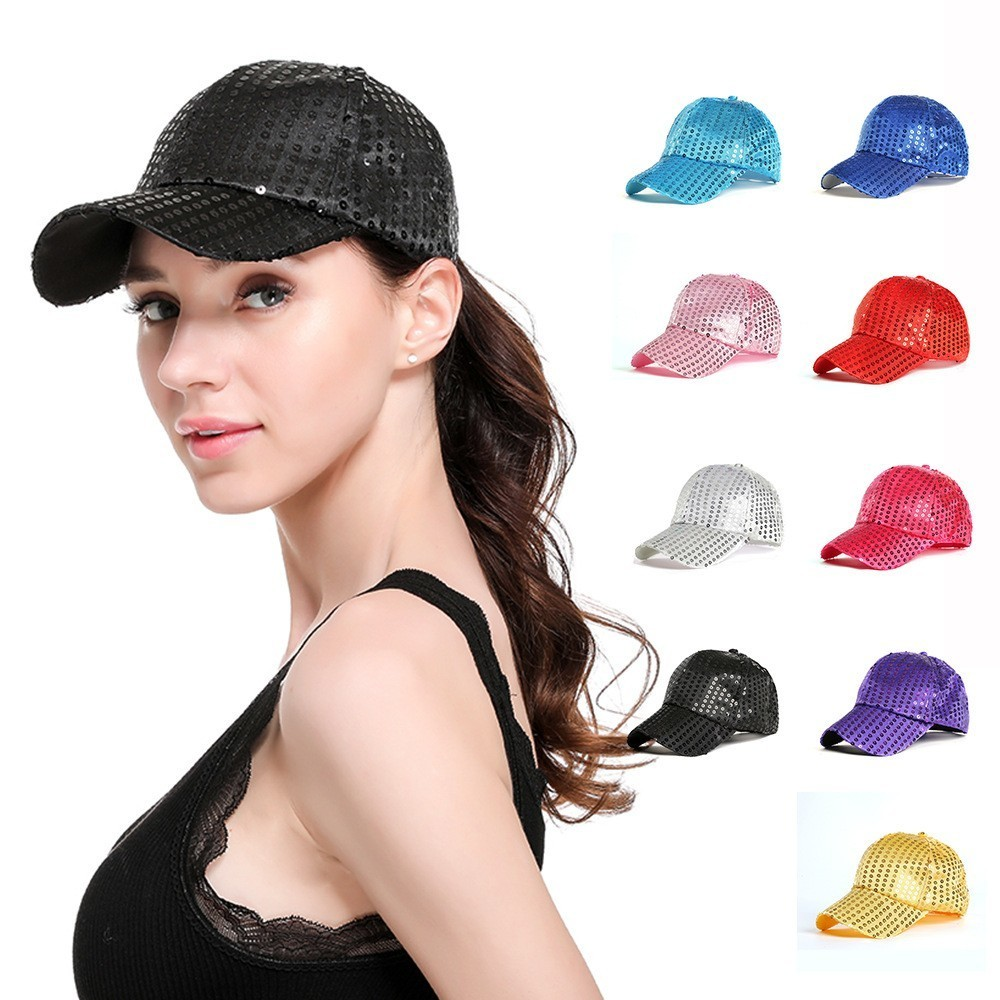<font><b>Glitter</b></font> <font><b>Ponytail</b></font> <font><b>Baseball</b></font> <font><b>Cap</b></font> <font><b>Women</b></font> Sequins Fedora <font><b>Ponytail</b></font> Adjustable <font><b>Glitter</b></font> Mesh Trucker <font><b>Baseball</b></font> <font><b>Cap</b></font> image