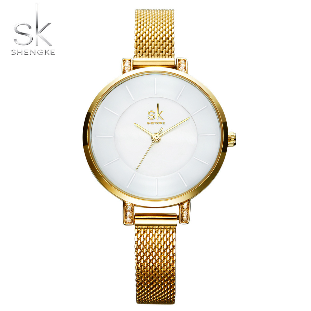 Shengke Top Brand Luxury Women Watch Fashion Steel Quartz Watches Ladies Gold Simple Style Casual Wristwatch Elegant Relojes SK