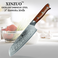 XINZUO 7 ''inch Japanese Chef Knife Damascus Steel Kitchen Knife Cleaver Knives Professional Santoku Knife 58HRC 62HRC Blade