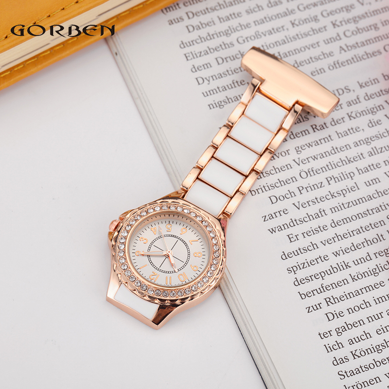 New Fashion White Rhinestone Stainless Steel Quartz Nurse Watch Fob Chain Women Lady Dress Pocket Watch Gifts Reloj de enfermera