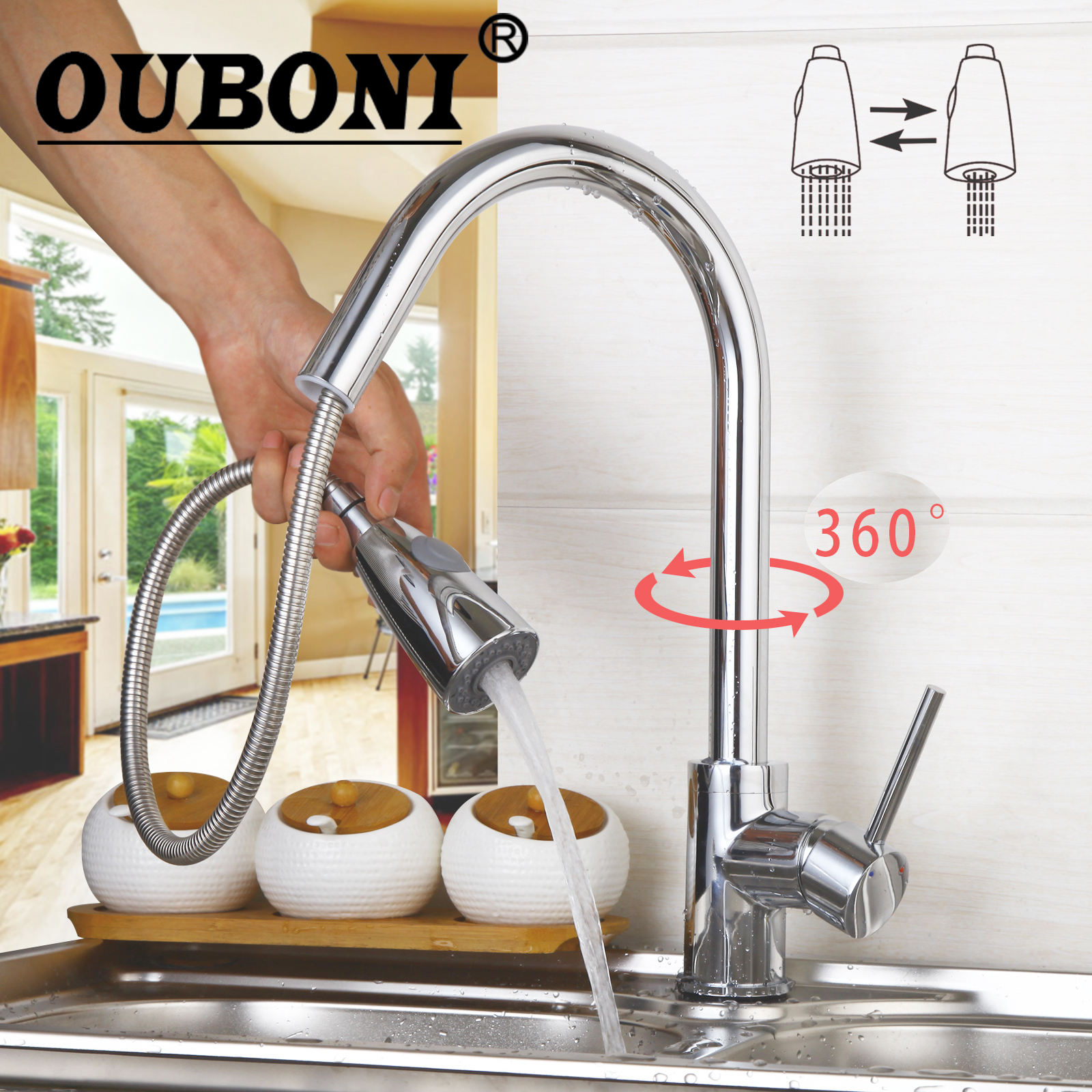 OUBONI 360 Swivel Stream Pull Out Spout Contemporary Kitchen Sink Faucet Polish Chrome Brass Hot & Cold Water Mixer Tap square kitchen faucet hot and cold pull out kitchen sink water mixer tap spray spout chrome
