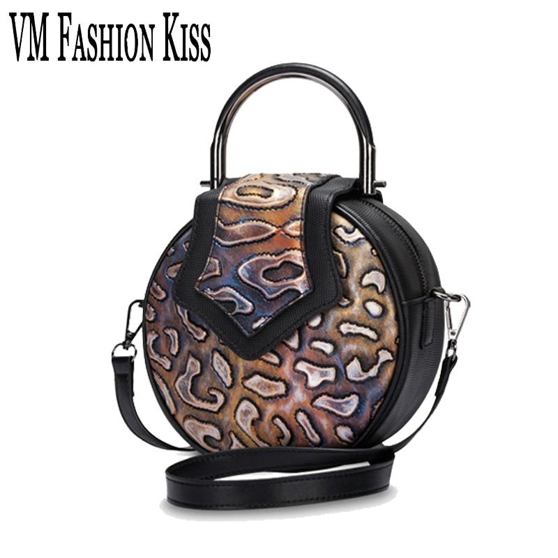 VM FASHION KISS New MINI Circular Stone Pattern Genuine Leather Women Messenger Bag For Girl Round Handbag Luxury Quality цена и фото