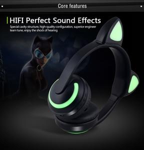 Image 4 - JINSERTA Cat/Rabbit/Deer/Devil Ear Headphones 7 Color LED Flashing Glowing Wireless Bluetooth Headphone For Cosplay Kids Gaming
