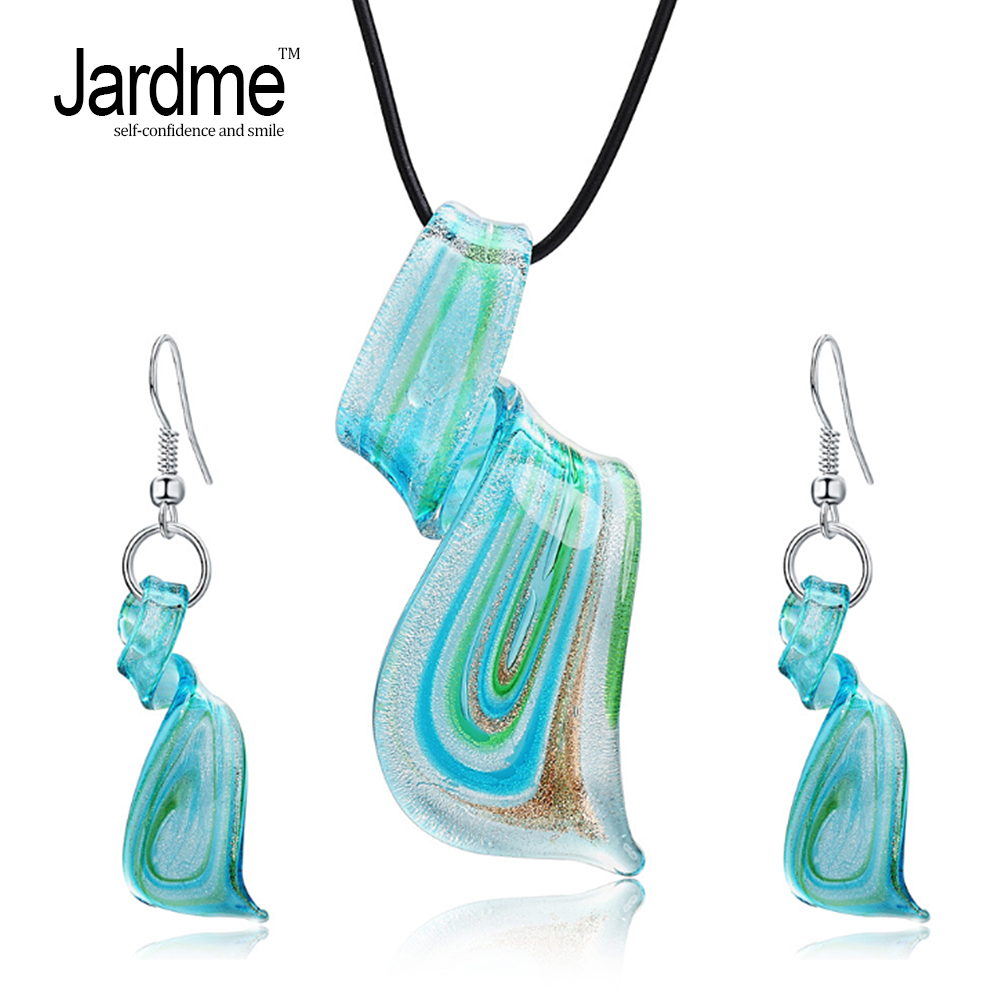 Jardme Jewelry Sets Mix Twisted Lampwork Glass Murano Inspiration Pendants Necklace and Earrings Jewelry Sets for Women Party