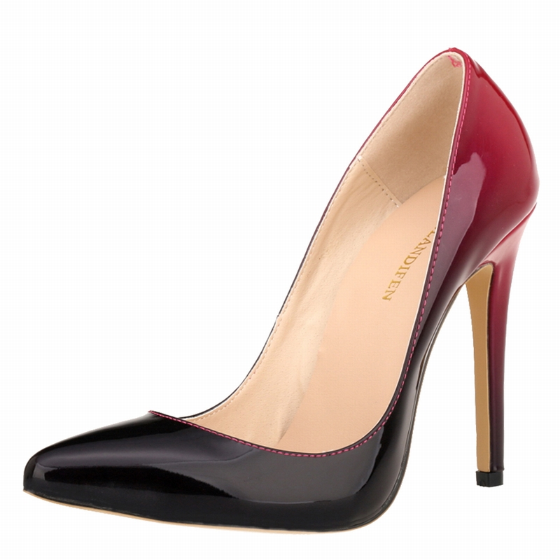 ФОТО Multi Color Sexy Mixed Gradient Color Glossy Shallow Stiletto Women Pumps Ultra Very High Heel Wedding Dress Fetish Shoes 34-42
