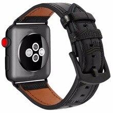 цена на OSRUI Leather strap For Apple Watch Series 4 band 44mm 40mm Iwatch 3 2 1 42mm/38mm Bamboo wrist watchband Bracelet belt correa