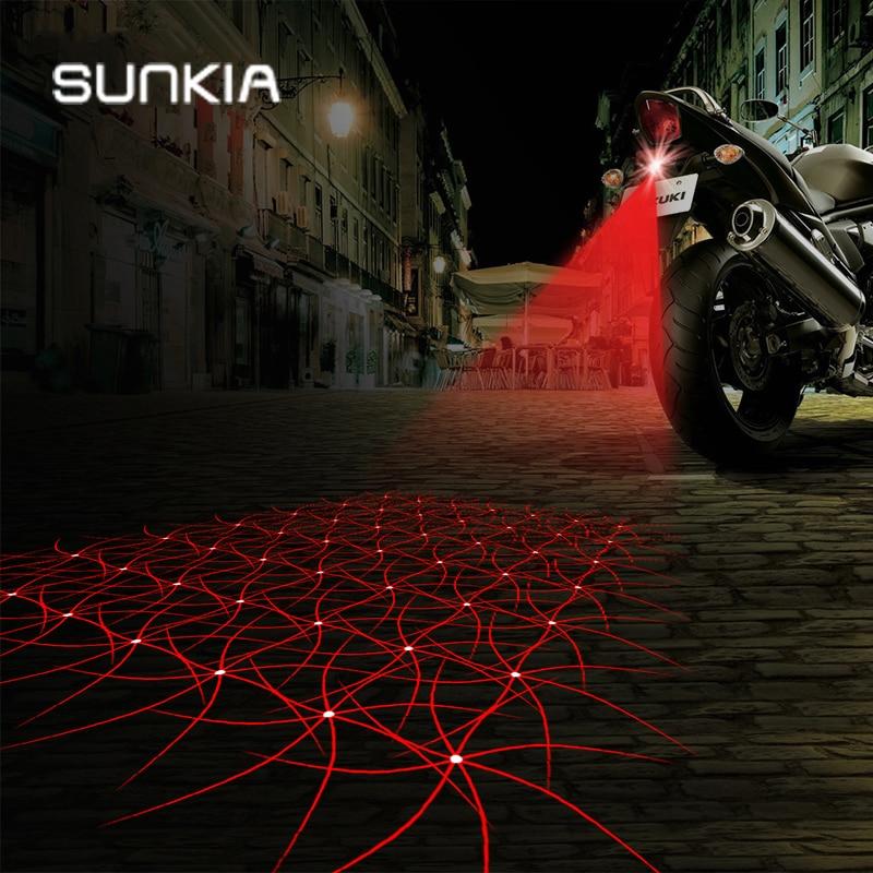 SUNKIA Motorbike Anti-Collision Achterzijde Motorfiets Laserstaart Mistlamp Rem Parkeerlicht Opbouw Waarschuwingslamp Auto Styling