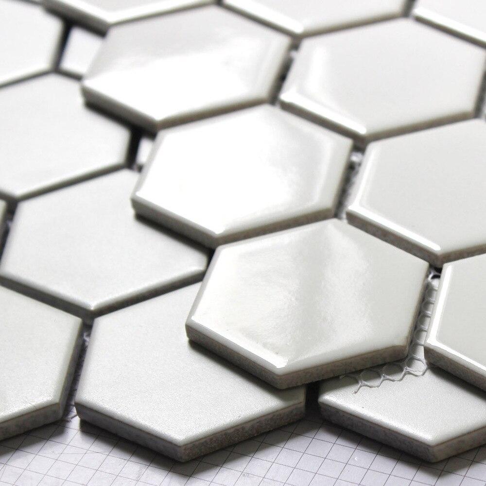 Hexagon Mosaic Tiles Bright White Matte Ceramic Minimalist Style