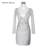 Luxury Silver Straight Mini Beaded Cocktail Dresses 2017 Short Party Prom Gowns Robe De Cocktail Vestido