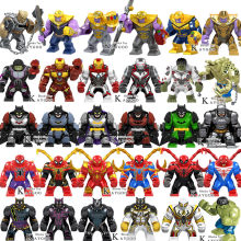 Big Building Blocks Large Super Heroes Avengers 4 Endgame Infinity War Thanos Hulk Buster Iron Man Spiderman Batman Venom Toys(China)
