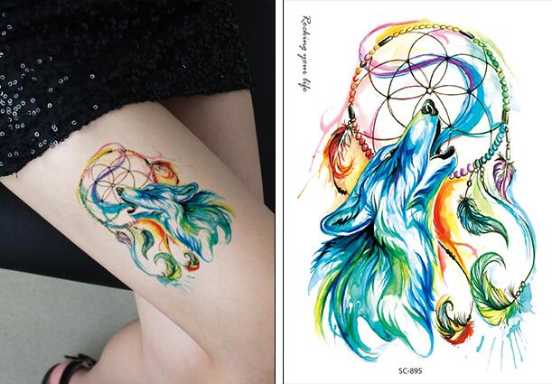 c2df07152 Water Transfer fake tattoo color Wolf Dreamcatcher tatoo Waterproof  Temporary Tattoo flash tatto for gril woman man 10.5*15 cm-in Temporary  Tattoos from ...