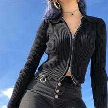 NCLAGEN 2019 Women Spring Autumn Black Ribbed Zipper Sweaters Crop Tops Cardigan Long Sleeve Turn Down Collar Mujer Coat Jumpers