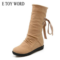E TOY WORD 2017 Autumn Women Mid Calf Boots Platform With Shoes Woman Breathable Fashion Brand