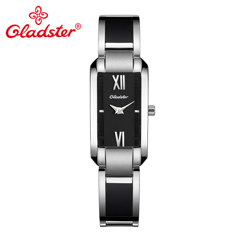 Gladster Fashion Casual Rectangle Ladies Clock Exquisite Stainless Steel Women Watch Luxury Bracelet Coated Glass Female
