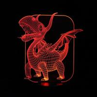 Magical 3D Illusion LED Table Lamp With Pterosaurs Image Night Lights For Boys Kids Gifts