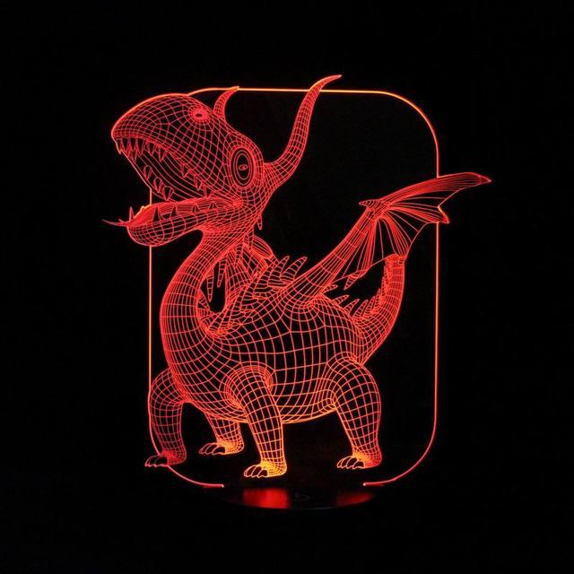 3D mágica Ilusión LED Lámpara de Mesa con Pterosaurios Imagen Luces de Noche para Niños Regalos Para Niños