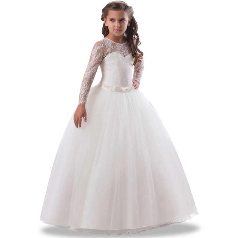 6587034b3ecd30d 2019 великолепные платья для причастия полые кружево косплэй платье  принцессы ручной работы пышные маленьких девочек Белый